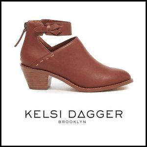 NWT KELSI DAGGER Mahogany Brooklyn Leather Booties